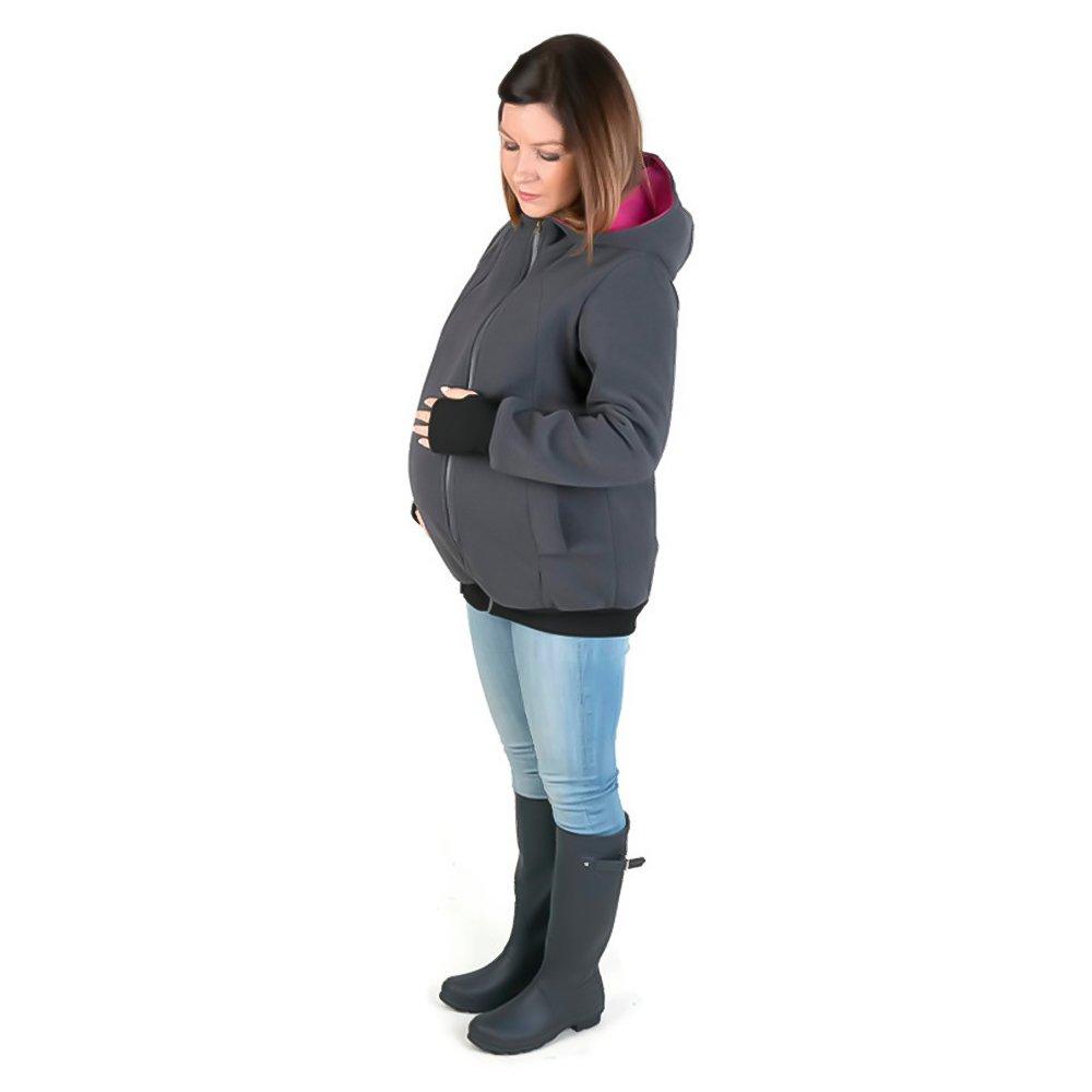 Decdeal Womens Maternity Hoodie Sweatshirt Kangaroo Hooded Outwear Coat Jacket for Baby Carriers