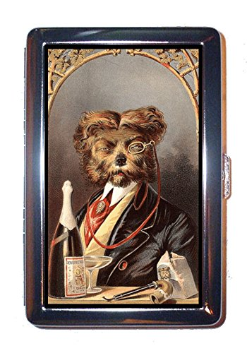 Dog Drinks Champagne Vintage Illustration Stainless Steel ID or Cigarettes (Drink Vintage Champagne)