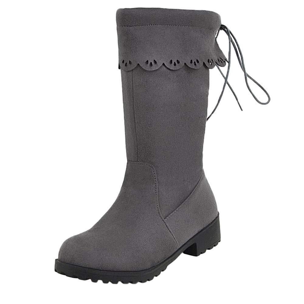 Qiusa Frauen Schuhe Plattform Starke Ferse Rutschfeste Rutschfeste Rutschfeste Runde Kappe Niedrig Hilfe Martin Stiefel (Farbe   Grau Größe   4.5 UK) a8e2df