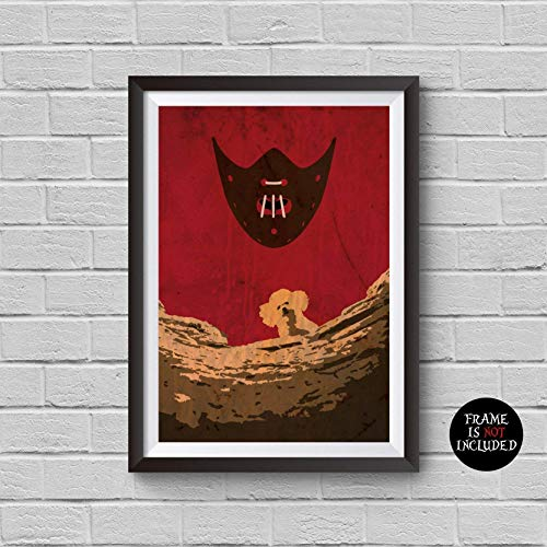 (The Silence of the Lambs Minimalist Poster Hannibal Lecter Alternative Classic Movie Print Pop Culture and Modern Home Decor Cinema Poster Artwork Wall Art Wall Hanging Cool Gift)