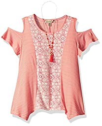 Speechless Big Girls\' Poly Ribbed Cold Shoulder Top, Coral, XL