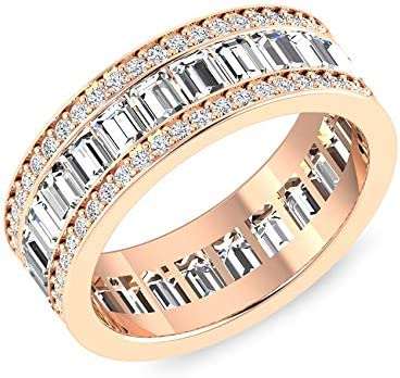 925 Sterling Silver Platinum Plated Baguette White Diamond Half Eternity Band Ring Bridal Wedding Anniversary Jewelry for Women Ct 0.3 H-I Color I3 Clarity