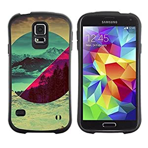 Hybrid Anti-Shock Bumper Case for Samsung Galaxy S5 / Different Landscapes Abstact