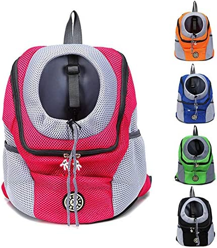 CKY Pet Outdoor Carrier Backpack Dog Front Bag for Large Medium Small Dogs Double Shoulder Portable Travel Backpack,Hot Pink,30x34x16cm