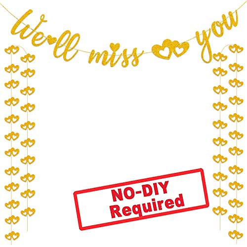 We'll Miss You Banner Glitter Gold Banner for Bon Voyage Goodbye Retirement Party Graduation Party Going Away Party Office Work Party Farewell Party Decorations Supplies -
