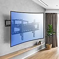 Sunydeal TV Wall Mount Bracket with Full Motion Dual Articulating Arm for most 30-70 Inch OLED, Flat Screen, Plasma, Curved Screen TVs to VESA 600x400mm and 121 LBS, with Swivel, and Level Adjustment
