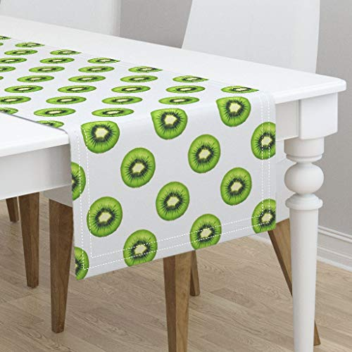 Table Runner - Kiwi Halves Kiwi Fruit Small Repeating Pattern Slices Green Zesty Healthy Health by Thecumulusfactory - Cotton Sateen Table Runner 16 x 108