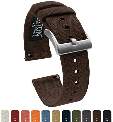Premium Lg Chocolate (BARTON Canvas Quick Release Watch Band Straps - Choose Color & Width - 18mm, 20mm, 22mm - Chocolate Brown 20mm)
