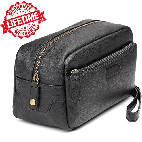Toiletry Bag Dopp Kit – Mens Toiletry Bag, Shaving and Grooming Kit for Travel, Bathroom Cosmetic Pouch Case - Gift Idea for Men (Leather Zipped Pouch)