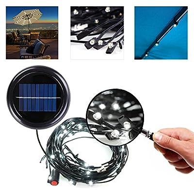 Koval Inc. 8-Rib 8FT.- 9FT. Patio Umbrella Solar Outdoor Lighting String Lights (Cool White)