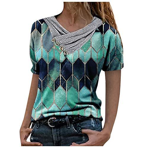여성 티셔츠 캐주얼 타이 염료 프린트 셔츠 반소매 풀오버 블라우스 칼라 스 플라이 싱 슬리브 자수 탑스