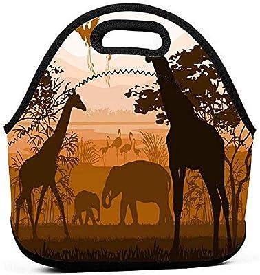 Bolsas de almuerzo Naturaleza con jirafa salvaje Elefante Flamenco ...