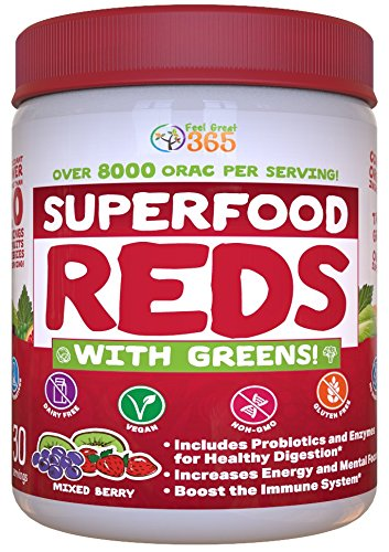 Superfood Vital Reds with Greens by Feel Great 365, Doctor Formulated, 75%+ Organic & 100% Non-GMO, Whole Food Multivitamin Powder - Fruits, Vegetables, Probiotics, Digestive Enzymes & Polyphenols