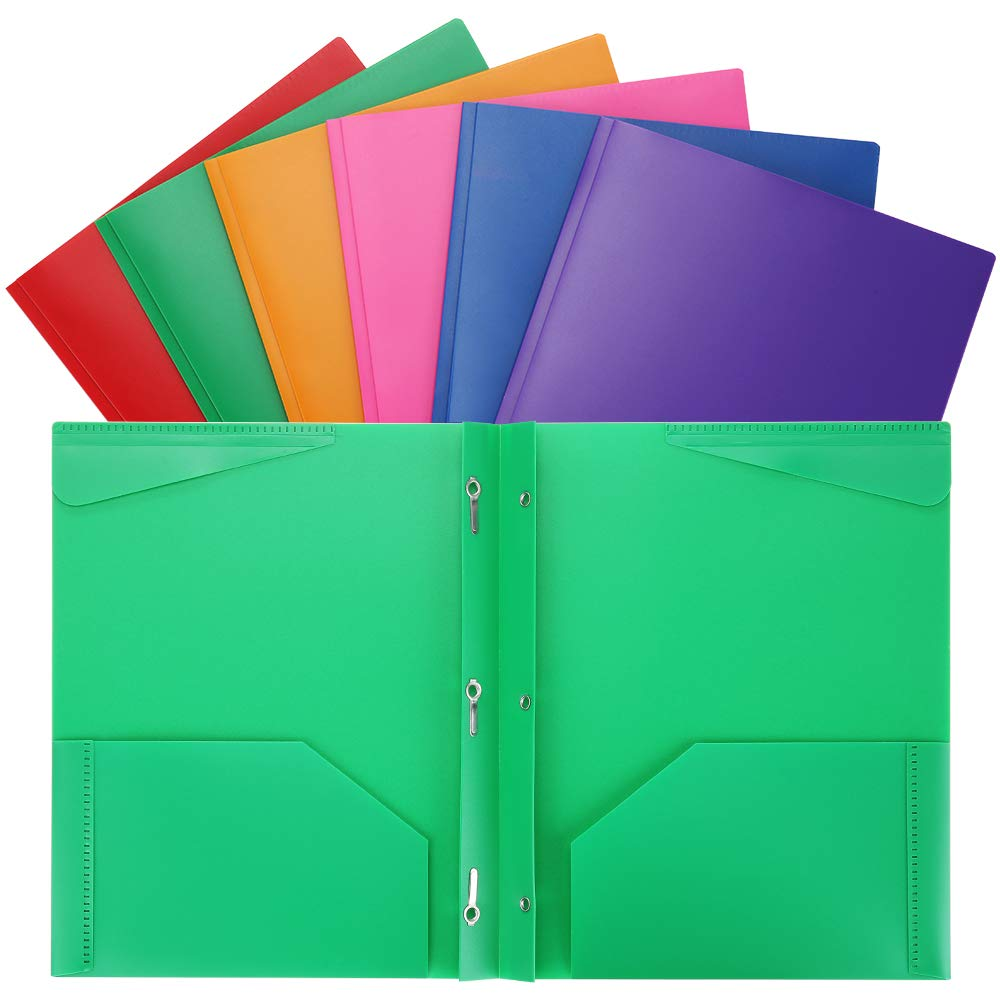 Plastic Folders with Pockets Heavy Duty 2 Pocket Plastic Folders Letter Size for School Work and Home Assorted Colors Plastic-Folders-with-Prongs-and-Pockets 6PCS by WOT I