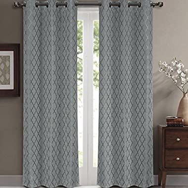 Willow Jacquard Gray Grommet Blackout Window Curtain Panels, Pair / Set of 2 Panels, 42x96 inches Each, by Royal Hotel