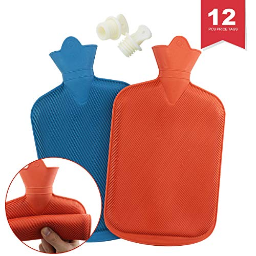 WTSHOP 2 Pack Premium Simple Rubber 2L Hot Water Bag(an Orange one and a Blue one),Great for Pain Relief,Hot and Cold Therapy,Natural Rubber BPA Free-Durable Hot Water Bottle (Water Therapy)