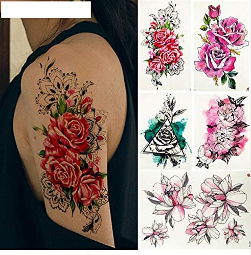 ruofengcp Mujer Acuarela Sexy Etiqueta Engomada del Tatuaje Flor ...