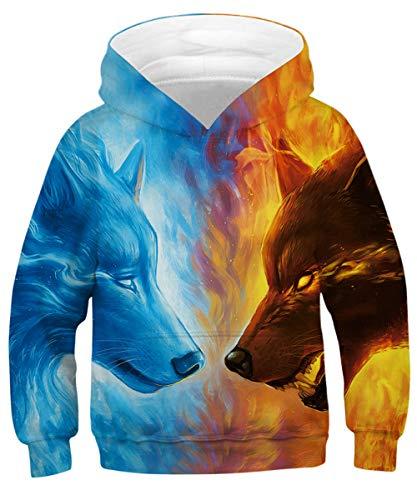 - GLUDEAR Kids Unisex Galaxy Animals Sweatshirts Pocket Pullover Hoodies 4-13Y,Ice&Fire Wolf,8-11 Years