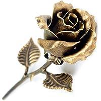 Handmade 8th Anniversary Gift for Her - 'Bronze' Steel Rose Sculpture
