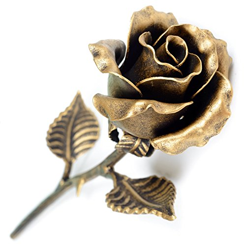 Painted Bronze Sculpture - Handmade 8th Anniversary Gift for Her - 'Bronze' Steel Rose Sculpture