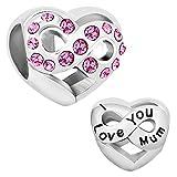 LovelyJewelry I Love You Mum Heart Infinity Charms Pink Birthstone Crystal Beads Bracelet