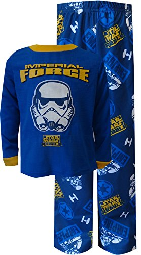 Star Wars Little Boys' Thermal Top Pajama Set, Navy, X-Small