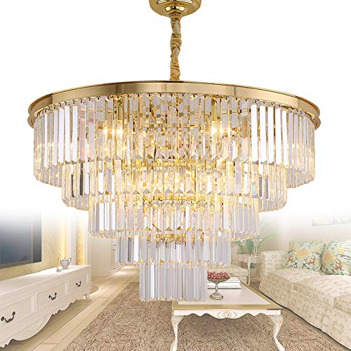 (Meelighting Gold Plated Modern Crystal Chandeliers Lighting Contemporary Pendant Chandelier Ceiling Lamp Lights Fixture 5-Tier (16 Lights) for Dining Room Living Room Hotel )