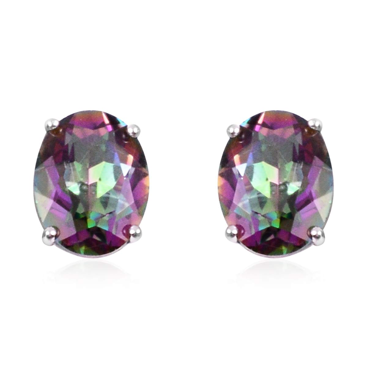 Stud Solitaire Earrings 925 Sterling Silver Oval Mystic Coated Quartz Gift Jewelry for Women Ct 1.3