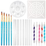 COCODE 20pcs Mandala Dotting Tools Rock Painting Pen with Paint Stencil,Paint Brush,Paint Tray,Acrylic Rods and Point Drill Tool for Painting Rock,Coloring,Drawing & Drafting,Kids' Crafts,Nil Art