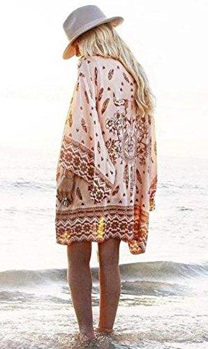 Sexy da Casual Mare Costume Elegante Cardigan Kimono Estate Rosa Boho Bagno da Scialle Chiffon Copricostume Lungo Stampa Abito Etnica Donna Tunica Estivo Vestito Homebaby Spiaggia XBwO5xvW