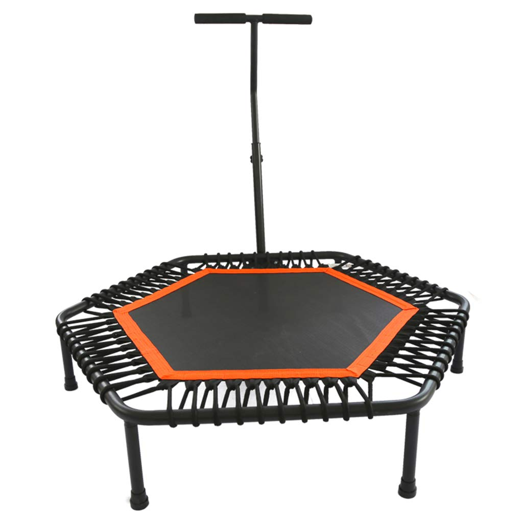 Indoortrampoline Trampolin Elastic Fitness Trampolin Super Jump Training Trampolin Profi Mit Griff Elastisches Trampolin (Farbe : Orange, Größe : 110  110  26 cm)
