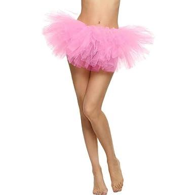 f052e81016d Sixcup Tutu Femme Ballet en Tulle Jupe Courte Mini Pettiskirt D élastique  Mini Multicouche (