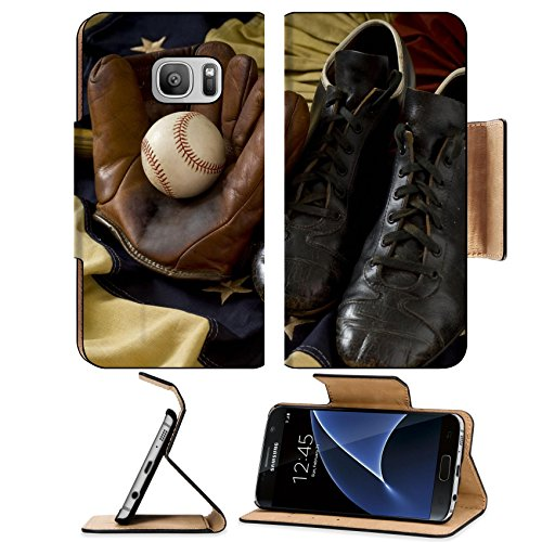 Luxlady Premium Samsung Galaxy S7 Flip Pu Leather Wallet Case Vintage antique baseball gear on vintage American flag bunting inlcuding a baseball mitt or glove baseball shoes or cleats