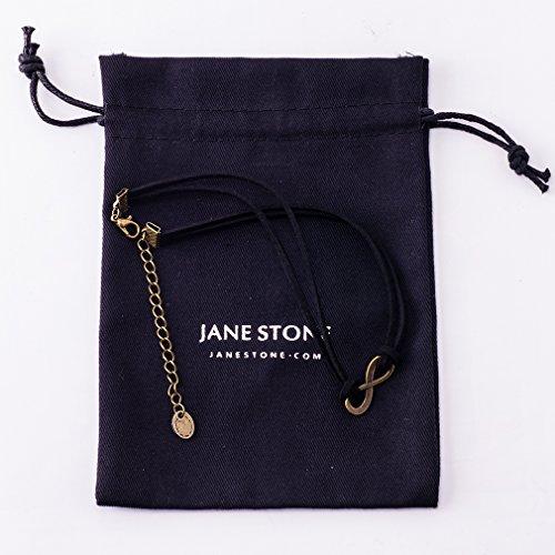 Jane Stone Collier Tatouage Ras du Cou en Velours Noir Connecteur Signe 8 Femme Bijoux Tendance