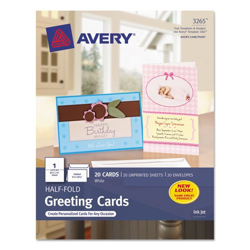 Avery 3265 Greeting Cards, Inkjet, 5-1/2-Inch x8-1/2-Inch, 20/BX, Matte White