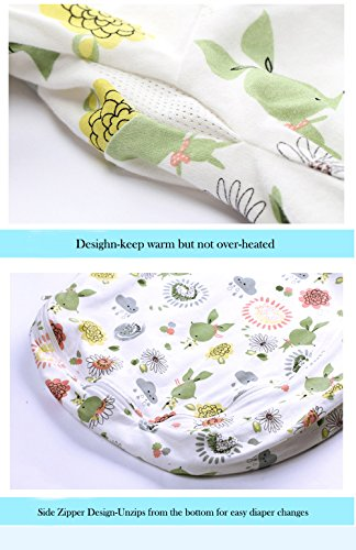 Floral Detachable Sleeve Organic Cotton Baby Sleep Bag Sack Wearable Blanket M by The morning (Image #3)