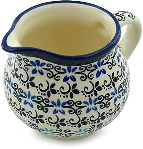 Polish Pottery Creamer 8 oz Black And Blue Lace - Blue Flowers Creamer