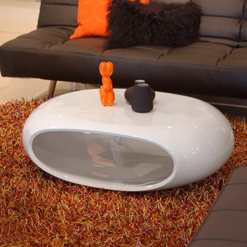 Unbekannt Design Couchtisch Space Oval Weiss Hochglanz