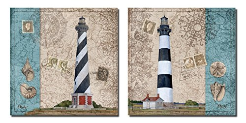 Harbor Point Lighthouse I Nautical Theme Lighthouse Seashells Stamps; Coastal Decor; Two 12x12 Poster Prints. Red/Blue/White/Beige
