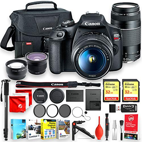 Canon EOS Rebel T7 with EF 18-55mm and EF 75-300mm Complete Beginners Bundle - Includes 2 32GB Sandisk Memory, AI Pro Editing Software, 2 tripods and More (24pc Total) (Best Beginner Dslr 2019)