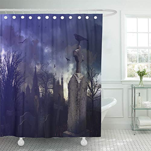 Semtomn Shower Curtain Waterproof Polyester Fabric 66 x 72 inches Tree Halloween Night Scene in Spooky Graveyard Cemetery Scary with Set with Hooks Decorative Bathroom Curtains -