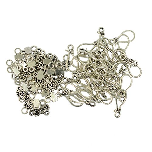 Jili Online 50 Sets Tibetan Style Antique Silver S Hook and Eye Clasps Jewelry Findings