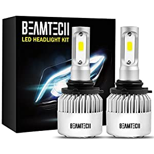 BEAMTECH 9006 LED Headlight Bulbs, 6500K 8000 Lumens Extremely Super Bright HB4 COB LED Chips Conversion Kit,Xenon White