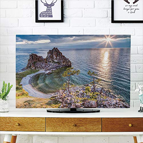 iPrint LCD TV dust Cover Strong Durability,Travel Decor,Shaman Rock Lake Baikal in Russia Coastal Theme Sun Rays Scenic Vista,Green Brown Blue,Picture Print Design Compatible 60