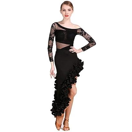 b3431337fd92 JTSYUXN Adult Latin Dance Costume Women's Training Competition Dress,lace  Performance Tulle Draped Shirt Long