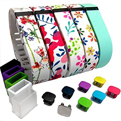 2015 Latest Band Set for Fitbit Flex,small Replacement Bands Set, Newest Layout, Water Transfer Printing Set with Metal Clasps for Fitbit Flex