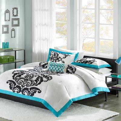 Florentine Comforter Set (Mizone Florentine 3 Piece Comforter Set, Teal, Twin/Twin)