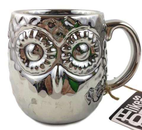 Beautiful Silver Owl Deluxe Figural Shaped Mug 16 oz