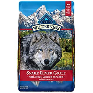 Blue Buffalo Wilderness Snake River Grill High Protein Grain Free, Natural Dry Dog Food with Trout, Venison & Rabbit 22-lb, Trout, Venison and Rabbit