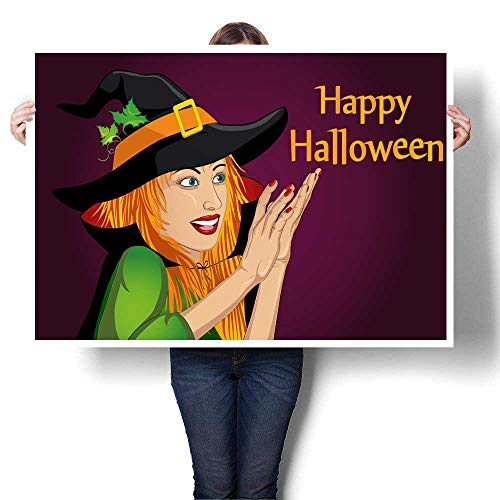 (Poster Prints Halloween Beautiful woman in hat and witch costume is surprised and shows hands wow Vector Empty space for your text or advertising Decorative Fine Art canvas Print Poster K 32